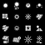 Vector white solar energy icon set Royalty Free Stock Images