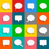 Vector white speech bubbles icon set. Abstract white speech bubbles icons. Vector illustration Royalty Free Stock Images