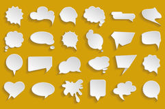 Vector White Speech Bubbles Set. Vector illustration white clouds for text Royalty Free Stock Image