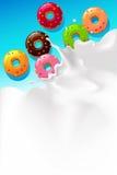 Vector white splash milk illustration background with sweet donut Stock Photos