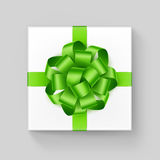 Vector White Square Gift Box with Light Green Ribbon Bow. Vector White Square Gift Box with Shiny Light Green Ribbon Bow Close up Top view  on Background Royalty Free Stock Photos