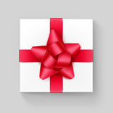 Vector White Square Gift Box with Red Ribbon Bow Stock Photos