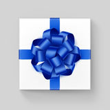 Vector White Square Gift Box with Shiny Blue Ribbon Bow. Close up Top view  on Background Royalty Free Stock Photo