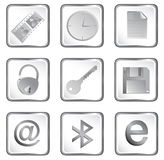 Vector white square web button Royalty Free Stock Images