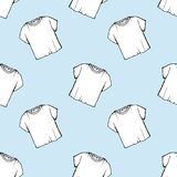 Vector white t-shirt seamless pattern. laundry design. clearance dry cleaning. packaging. drawing net white t-shirt. blue backgrou royalty free illustration