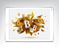 Vector white tablet with bitcoin, cryptocurrency faceted 3d banner. Realistic illustration Stock Photography