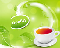 Vector white tea cup with the leaves Royalty Free Stock Image