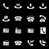 Vector white telephone icon set Royalty Free Stock Images