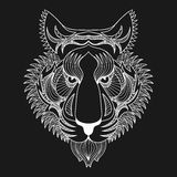 Vector white Tiger. Zentangle Tiger face illustration, Tiger hea Royalty Free Stock Photo