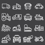 Vector white vehicles icons set Stock Images