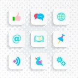 Vector white web social media buttons Stock Photo