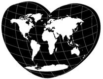 Vector white world map in 3d heart Stock Image