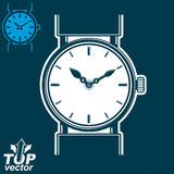 Vector white wristwatch graphic illustration isolated on dark ba Stock Photo