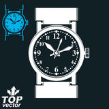 Vector white wristwatch illustration isolated on dark background Stock Photos