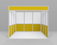 Vector White Yellow Blank Indoor Trade exhibition Booth Standard Stand for Presentation Isolated Royalty Free Stock Photos