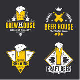 Vector white and yellow vintage beer logo, icons and design elem Royalty Free Stock Photography