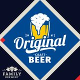 Vector white and yellow vintage craft beer logo. On blue background for brewhouse, bar, pub, brewing company branding and identity Stock Illustration