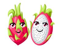 Vector whole and sliced vivid pink dragon fruit isolated on white background. Fruit with eyes. Website page and mobile app design Stock Images