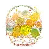 Vector wicker basket with bouquet of outline Aster flower, ornate leaf and bud in pastel yellow, orange and green isolated. Royalty Free Illustration