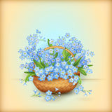 Vector Wicker Basket with Flowers Stock Photos