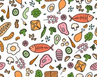 Vector wide seamless pattern background. Color sketch food for decor menu design. royalty free stock image