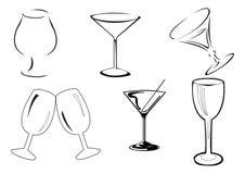 Vector wijnglazen Stock Foto