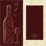 Vector wijnkaart Stock Afbeeldingen