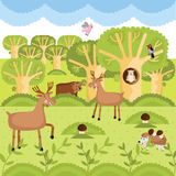 Vector wild animals on the forest. Stock Photography