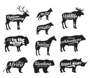 Vector wild animals silhouettes. Wild life adventures icons Royalty Free Stock Photo
