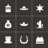 Vector wild west icon set. On black background Royalty Free Stock Image
