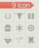 Vector Wild West icon set Royalty Free Stock Images