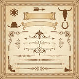 Vector Wild West Ornaments. A collection of Wild West ornament, with frames, rulers, angle ornaments and cliparts Royalty Free Stock Photo