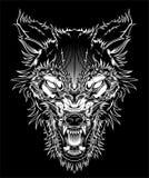 Vector wilden Hauptwolf der Illustration, Entwurfsschattenbild auf einem schwarzen Hintergrund lizenzfreie abbildung