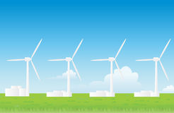 Vector wind farm landscape Royalty Free Stock Photo