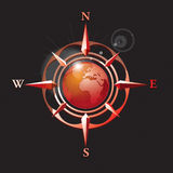 Vector_wind rose with earth. Vector illustration wind rose with earth Royalty Free Stock Image