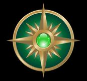 Vector wind rose (green gold) Stock Images