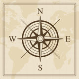 Vector Wind rose on a world map background Stock Photo