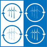 Vector wind turbine icons Royalty Free Stock Photography
