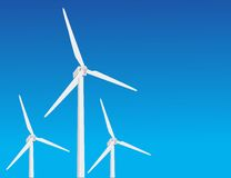 Vector wind turbines Royalty Free Stock Images