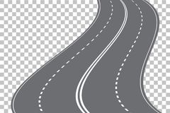 Vector winding four-lane road isolated on transparent background. Vector EPS 10 royalty free illustration