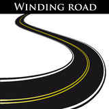 Vector winding road. Winding black road - vector illustration Royalty Free Stock Image