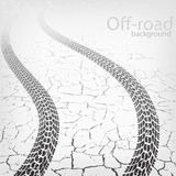 Vector winding trace of the terrain tyres. Winding trace of the tires on cracked road, vector background Royalty Free Stock Photos