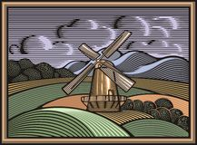 Vector Windmill Illustration in Woodcut Style. Organic Farming. royalty free illustration