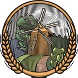 Vector Windmill Illustration in Woodcut Style. Organic Farming. Royalty Free Stock Photo