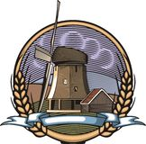 Vector Windmill Illustration in Woodcut Style. Organic Farming. Royalty Free Stock Images