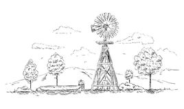 Vector - Windmill landscape Stock Photography