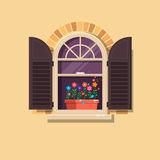Vector window with brown shutters and flower pots on a brick wall.Cartoon house element. Stock Images
