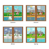 Vector window in different season Stock Images