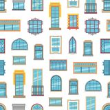 Vector window flat icons background or pattern illustration. Architecture frame windows glass exterior Royalty Free Stock Images