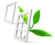 Vector window and leaf Stock Photography